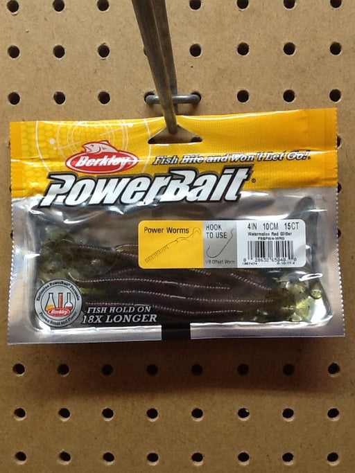 "Berkley: Powerbait Power Worms 4"" (Watermelon Red Glitter)"