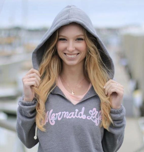 Mermaid Life V Notch Hoodie GrayApparel Womens Apparel Mermaid Life