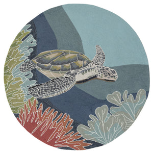 Gliding Sea Turtle Hand Tufted Indoor Outdoor Area RugsHome Womens Apparel Mermaid Life
