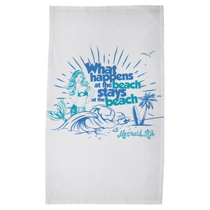 What Happens at the Beach Mermaid Kitchen Towel Womens Apparel Mermaid Life