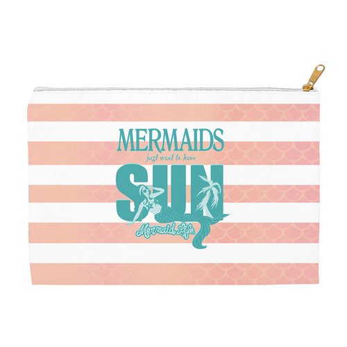 Mermaids Just want to have Sun Small PouchAccessories Womens Apparel Mermaid Life