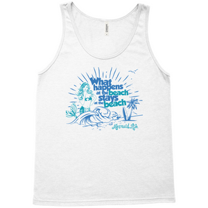 What Happens at the Beach Tank TopApparel Womens Apparel Mermaid Life