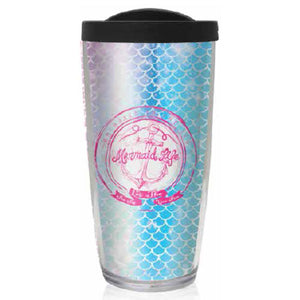 Mermaid Life 16oz Reusable Tumbler w Lid AnchorDrinkware Womens Apparel Mermaid Life