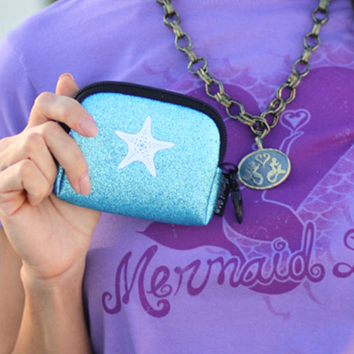 Small Neoprene Sparkle Card Case with Clip - Aqua StarfishBags Womens Apparel Mermaid Life