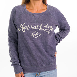 Mermaid Life Boyfriend Sweatshirt NavyApparel Womens Apparel Mermaid Life