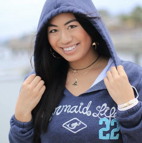 Mermaid Life V Notch Hoodie NavyApparel Womens Apparel Mermaid Life