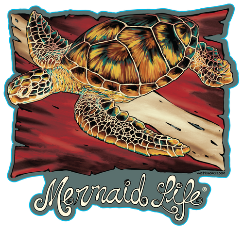 Diving Sea Turtle StickerDecals Womens Apparel Mermaid Life