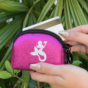 Small Neoprene Sparkle Card Case with Clip - Pink MermaidBags Womens Apparel Mermaid Life