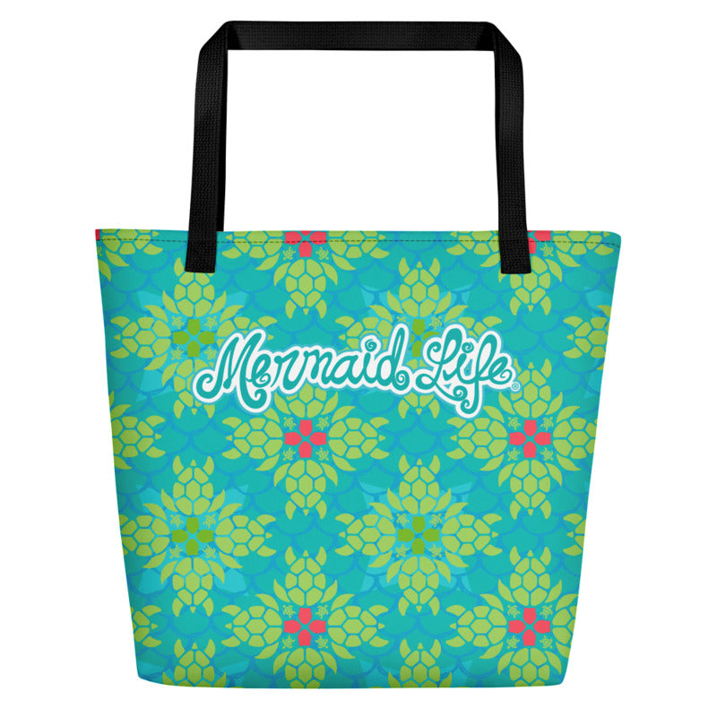 Mermaid Life Sea Turtle Splendor Beach Bag Large