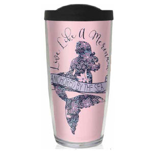 Mermaid Life 16oz Reusable Tumblers w Lid Live Like..Drinkware Womens Apparel Mermaid Life