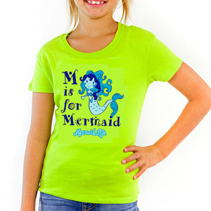 Girls M is for Mermaid Tee LimeMermaid Life® Girl Womens Apparel Mermaid Life
