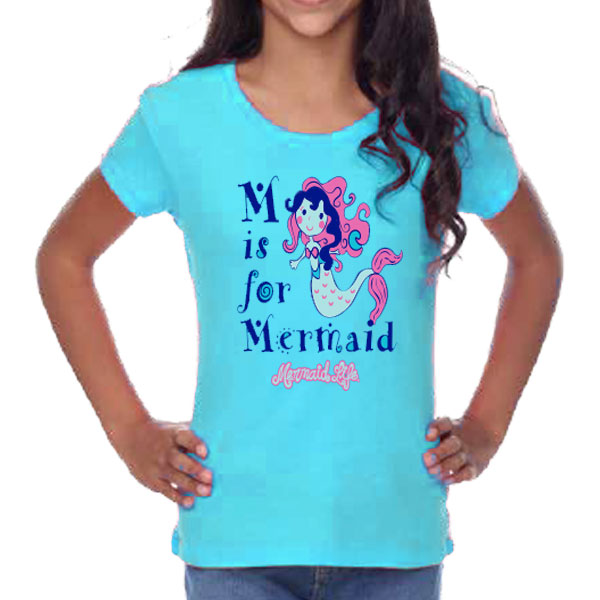 Girls M is for Mermaid Tee AquaMermaid Life® Girl Womens Apparel Mermaid Life