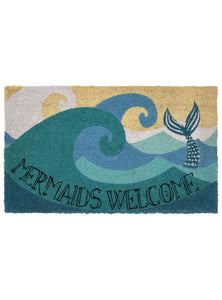 Mermaids Welcome Natural Door Mat 30x18Home Womens Apparel Mermaid Life