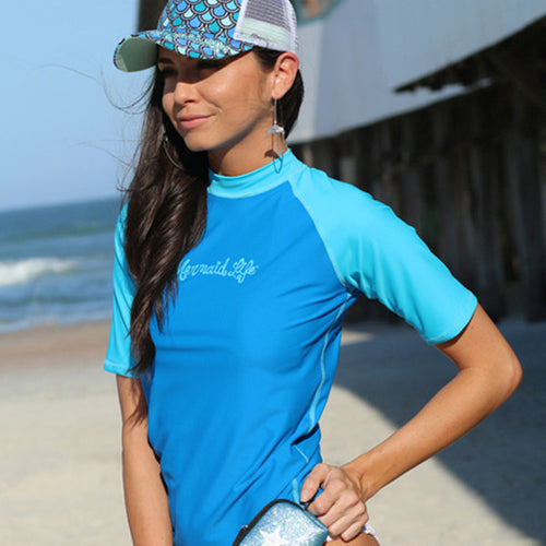 Short Sleeve Rash Guard BluePerformance Womens Apparel Mermaid Life
