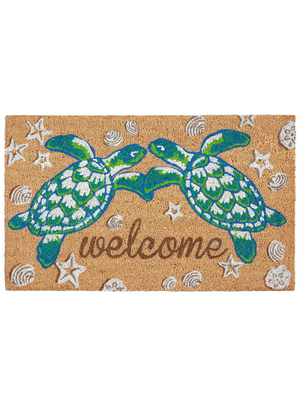 Sea Turtle Friends Welcome Natural Door Mat 30x18Home Womens Apparel Mermaid Life