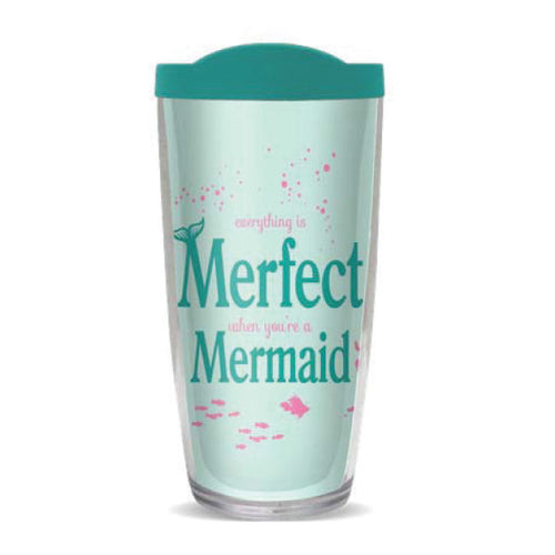 Merfect 16oz Reusable Tumbler w LidDrinkware Womens Apparel Mermaid Life