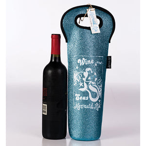 Mermaid Life Sparkle Koolie Wine Bag AquaDrinkware Womens Apparel Mermaid Life