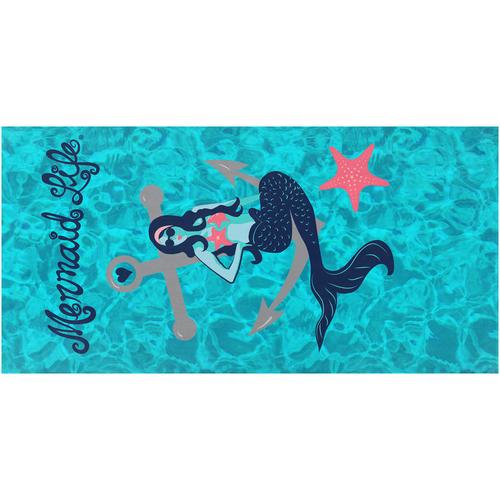 Nautical Mermaid Microterry Packable Beach TowelBeach Towels Womens Apparel Mermaid Life