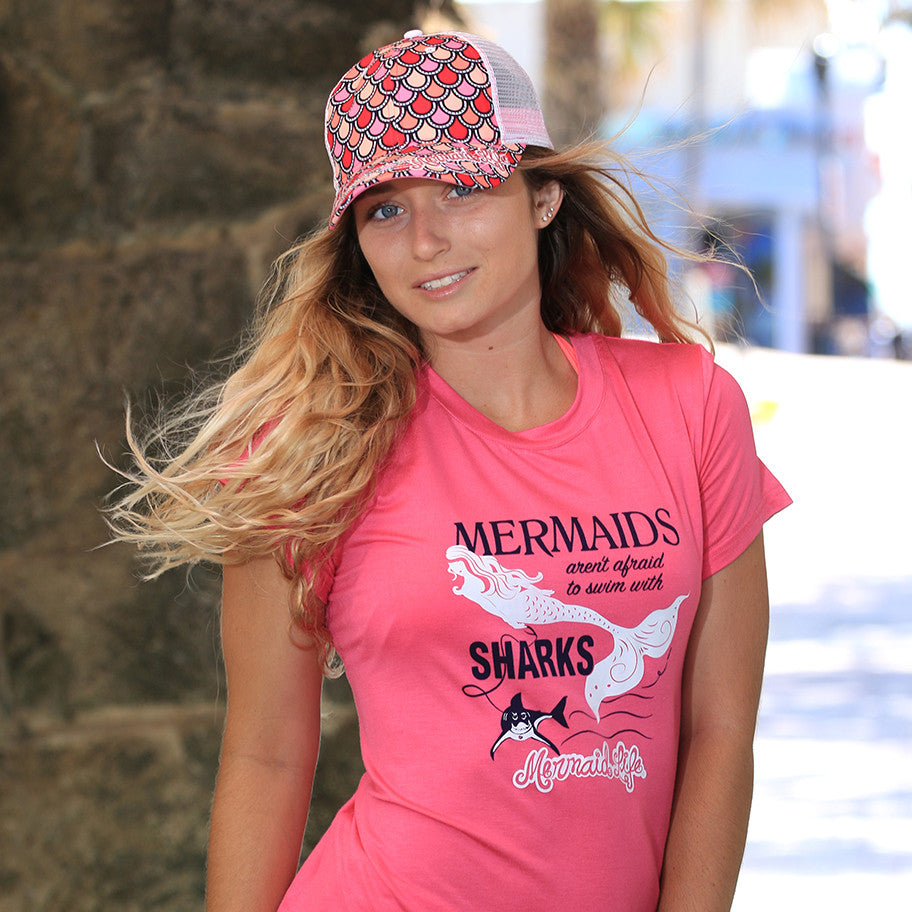 Mermaids aren't afraid to Swim with Sharks TeeApparel Womens Apparel Mermaid Life