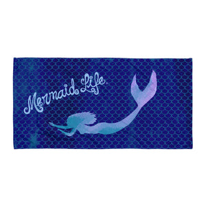 Swimming Mermaid Beach Towel NavyBeach Towels Womens Apparel Mermaid Life