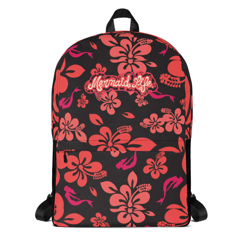 Mermaid Life Hawaiian Hibiscus BackpackBags Womens Apparel Mermaid Life