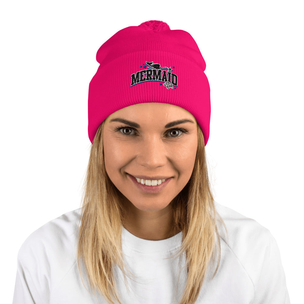 Winter Mermaid Pink Pom-Pom Beanie HatHeadwear Womens Apparel Mermaid Life