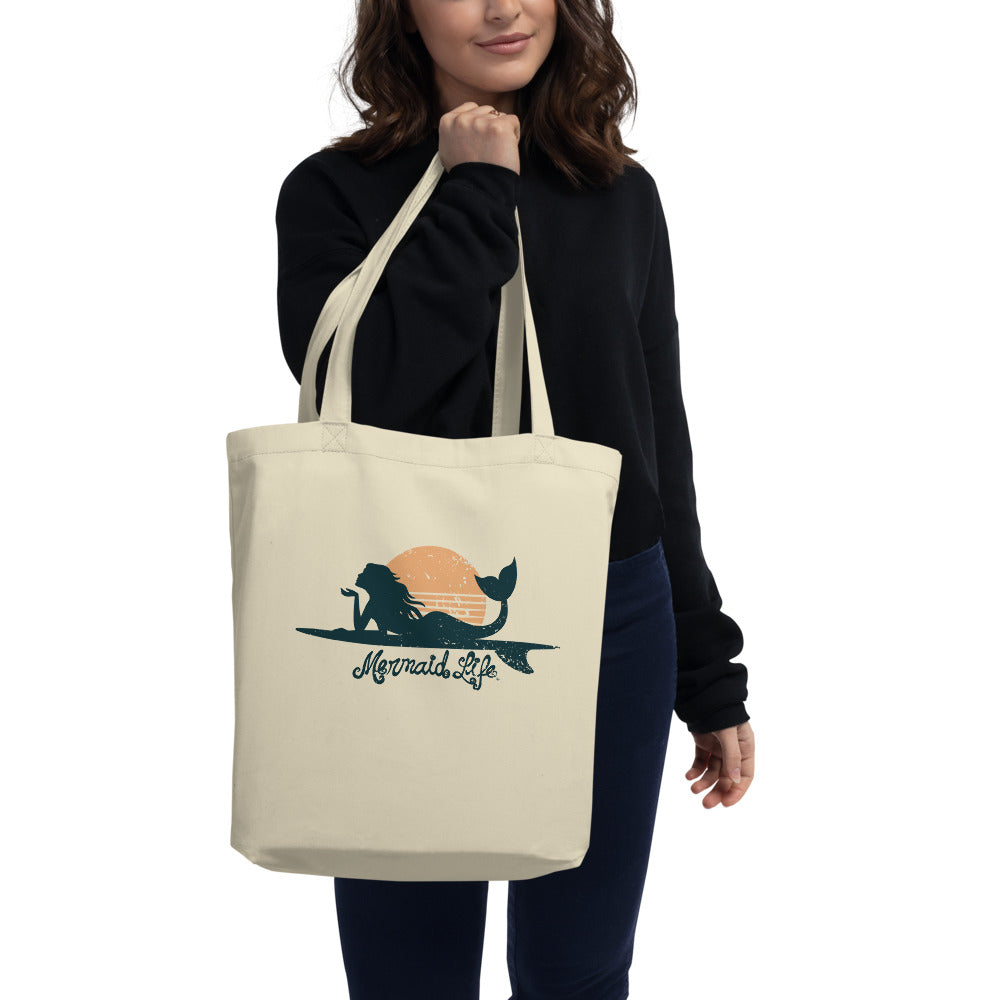 Surfer Mermaid Eco Tote BagBags Womens Apparel Mermaid Life