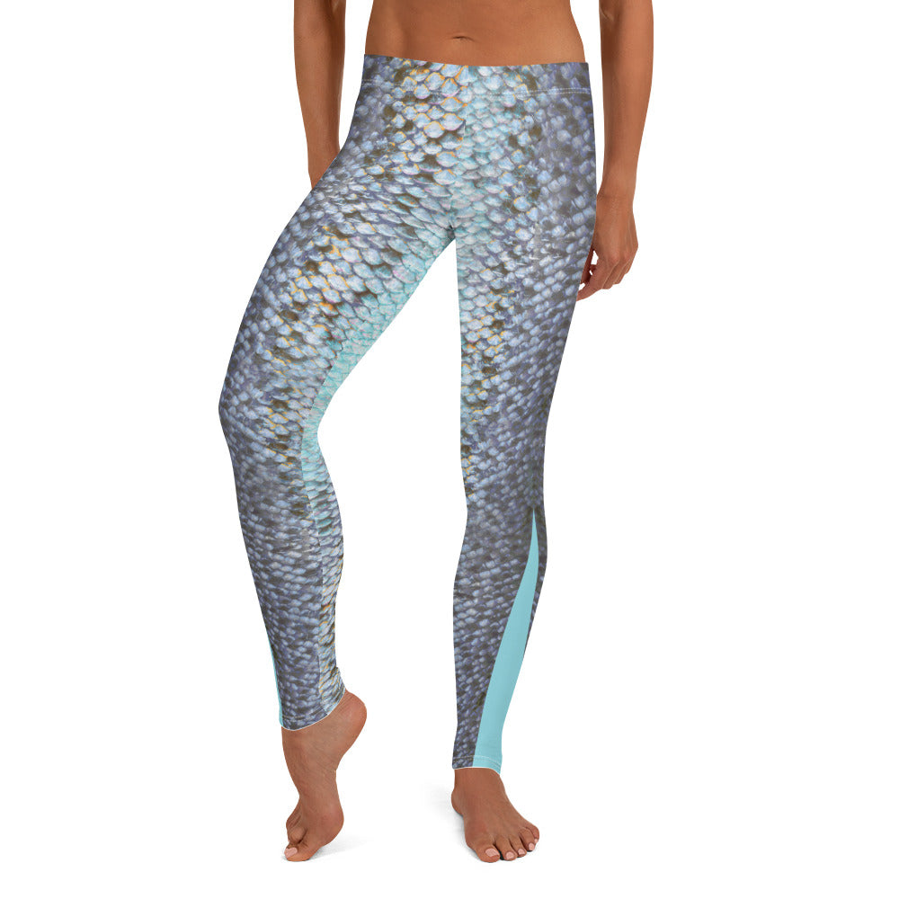 Aqua Trout Fish Skin LeggingsPerformance Womens Apparel Mermaid Life