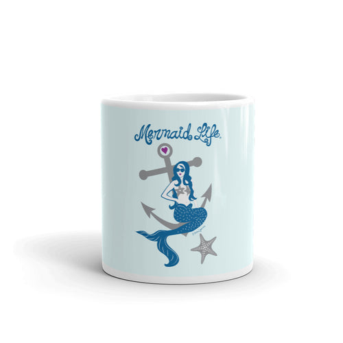 Anchor Mermaid Blue Coffee MugDrinkware Womens Apparel Mermaid Life