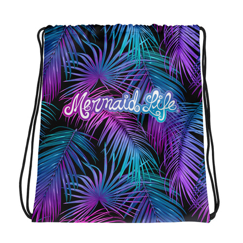 Mermaid Life Tropics Black Drawstring Beach BackpackBags Womens Apparel Mermaid Life