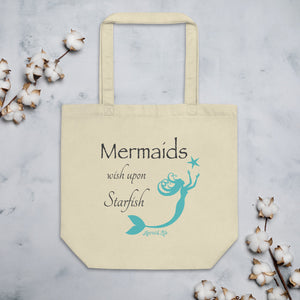 Mermaids Wish Upon Starfish Eco Tote BagBags Womens Apparel Mermaid Life