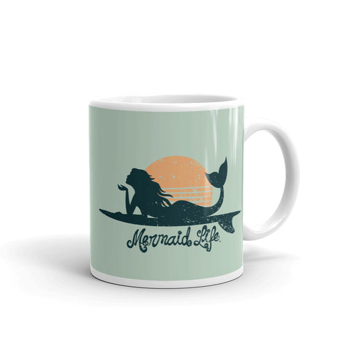 Surfer Mermaid Coffee MugDrinkware Womens Apparel Mermaid Life