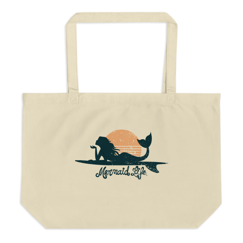 Surfer Mermaid Large Ecoc tote bagBags Womens Apparel Mermaid Life