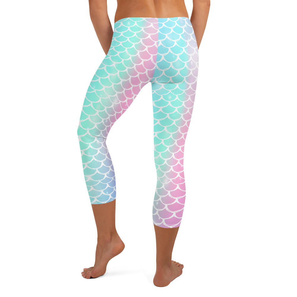 Rainbow Scales Capri LeggingsPerformance Womens Apparel Mermaid Life