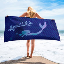Load image into Gallery viewer, Swimming Mermaid Beach Towel NavyBeach Towels Womens Apparel Mermaid Life