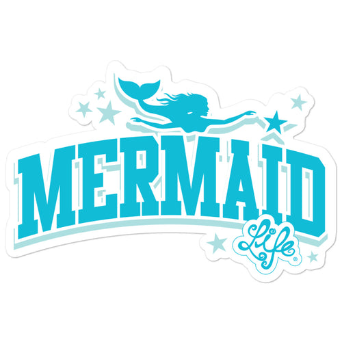 Mermaid Life Blue and White StickerDecals Womens Apparel Mermaid Life