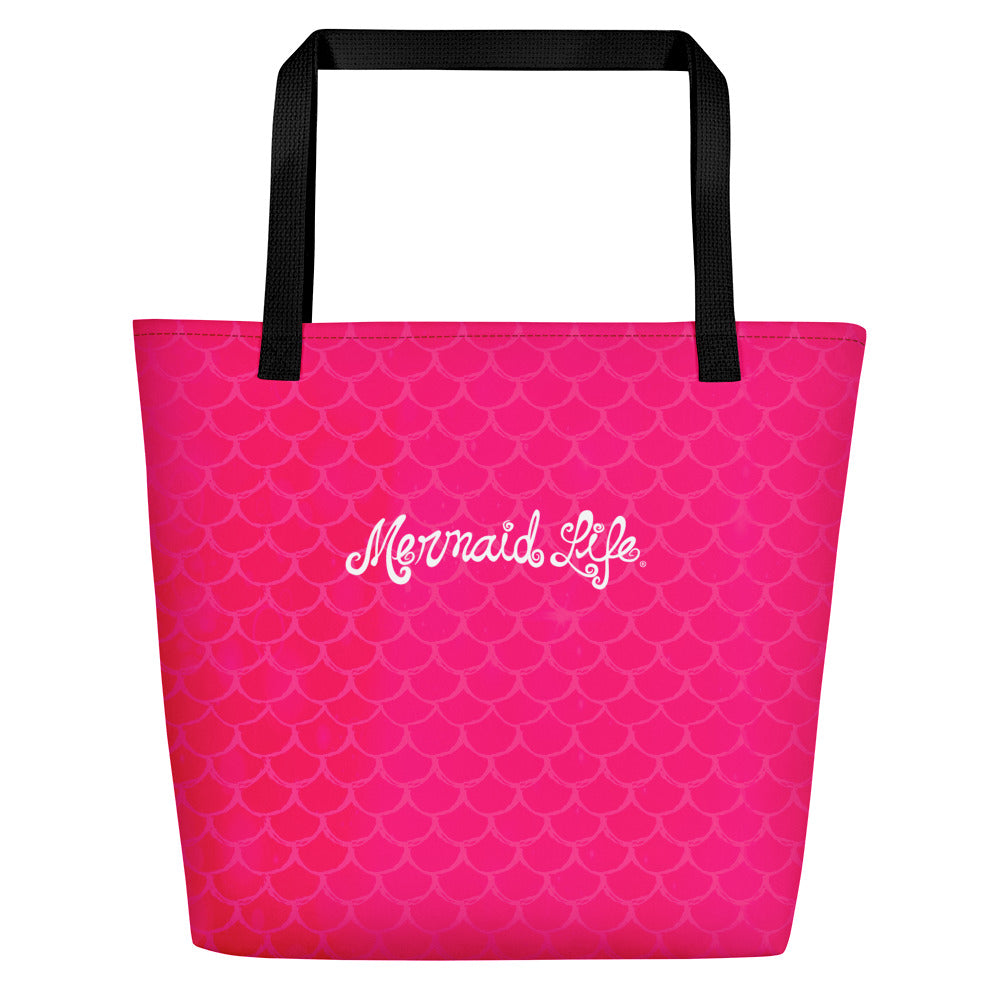Pink Mermaid Scales Beach Bag LargeBags Womens Apparel Mermaid Life