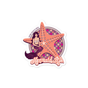 Starfish Mermaid Bubble-free stickerDecals Womens Apparel Mermaid Life