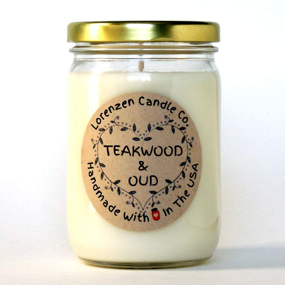 Teakwood & Oud Soy Candle, 12oz | Handmade in the USA with 100% Soy Wax