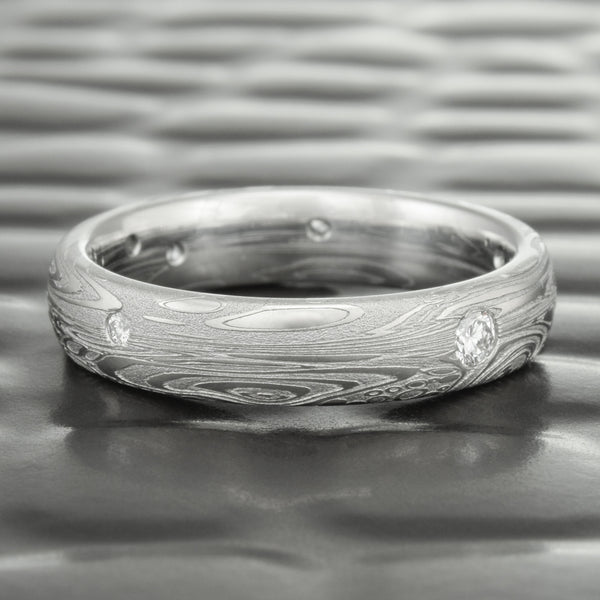 Women's 4mm WIde Scattered Diamond Damascus Steel Wedding Ring | TIDEPOOLS