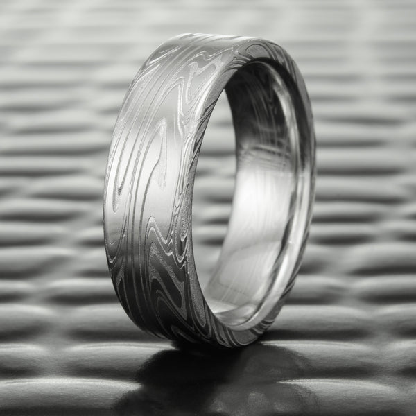 Wide 7mm Flat Damascus Steel Wedding Band | SWIRLING CURRENT