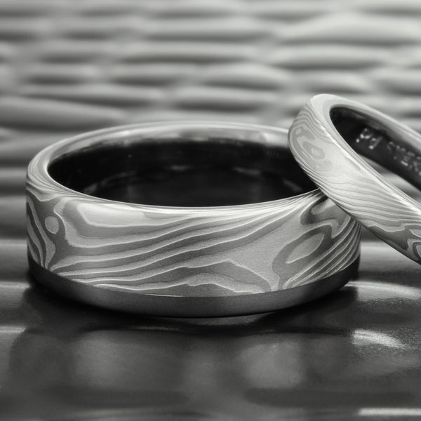 Contemporary 7mm Wide Mokume Gane Wedding Band in Palladium, Silver and Tantalum | TWISTED WOOD