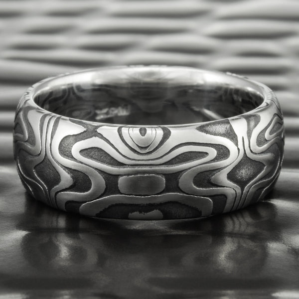 Damascus Steel Half Round 8mm Band with Dark Fire Oxide | REFLECTIONS