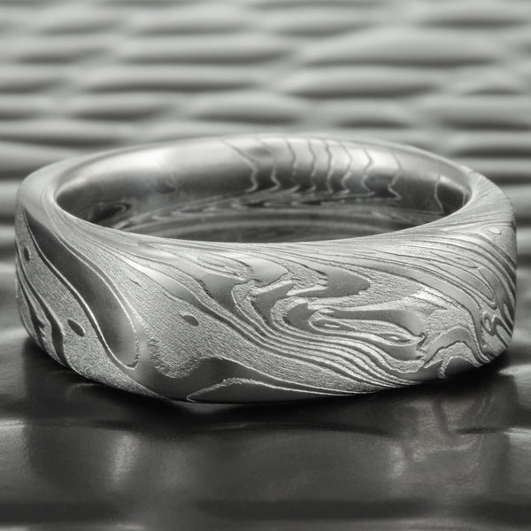 Unique 9mm Wide Damascus Steel Wedding Ring | TIDEPOOLS