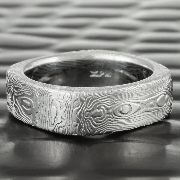 Square 6mm Wide Damascus Wedding Band | BOOKMATCHED