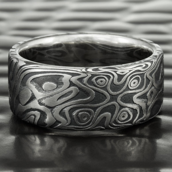 Flat Damascus Steel Wedding Band With Dark Fire Oxide 8mm Wide | STAR