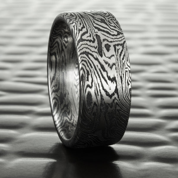 Wide Flat Titanium and Black Zirconium Mokume Wedding Band 8mm Wide | DARK BURL