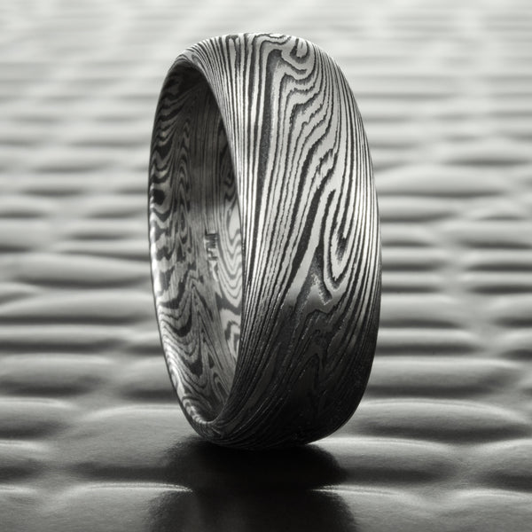 Wide Titanium and Black Zirconium Mokume Gane in a 7mm Domed Wedding Band | DARK WOOD