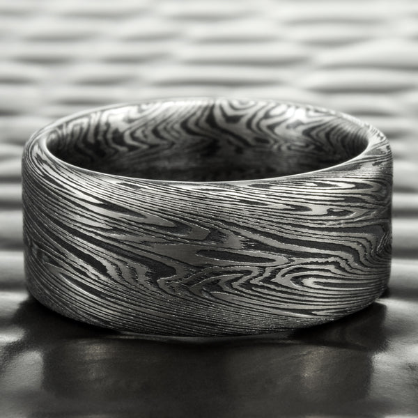 Titanium and Black Zirconium Mokume Gane in a 8mm Flat Wedding Band | DARK WOOD