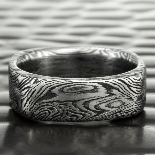 Titanium Mokume Gane 6mm Wide Square Band With Titanium and Black Zirconium | DARK BURL